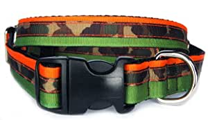 Camouflage dog collar: Triple layers of green, orange, camouflage grosgrain army ribbon designer pet collar for puppies, small dogs to large dogs. handmade in USA