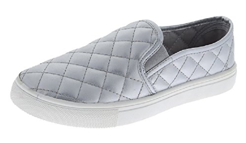W Collection Slip On Quilted Fashion Sneakers White Sole Shoes Closed Toe Silver lk3OJQ