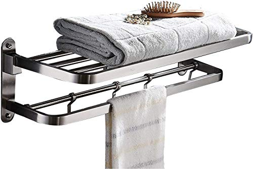 - ELLO&ALLO for for Bathroom Shelf Double Towel Bar Holder with Hooks Wall Mounted Multifunctional Foldable Brushed Nickel,