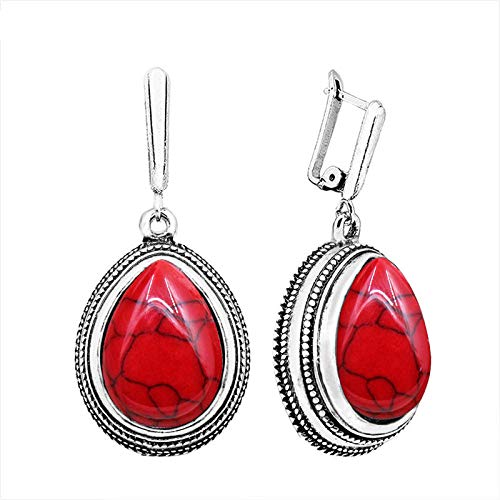 Drop Pendant 5 Colors Synthetic Turquoises Earrings for Women Antique Silver Plated Retro Craft Fashion Jewelry TE109 Red Stone ()