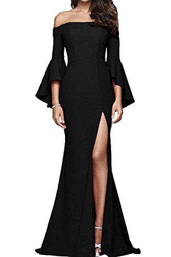 Lang Partykleider Etuikleider Abendkleider mia La Festlichkleider Damen Langarm Braut Figurbetont Brautmutterkleider Rot Schwarz 46TPWqpw