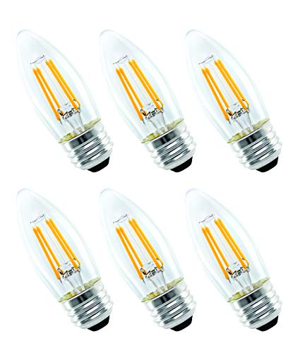 - OSTWIN Dimmable Candelabra LED Filament Bulbs 4W (40 Watt Equivalent) 400Lm, Chandelier B11 Decorative Candle Light Bulbs, E26 Base Torpedo Shape Clear Glass 2700K (Warm White) (6 Pack) UL listed