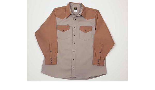 Camisas de soldador resistentes de dos tonos, 283 g, 100 % algodón, kaki, 340 g, 100 % lona de algodón: Amazon.es: Amazon.es