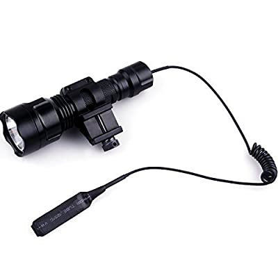 WindFire® C8 Tactical Hunting Light Cree Xm-l T6 Led 1600 lm 5 Modes Light 18650 Battery Tactical Flashlight Torch with Pressure Switch /Tactical Switch and 45°Side Picatinny Mount Rail Offset Ring Side Mount for Hunting Fishing (Battery not included)