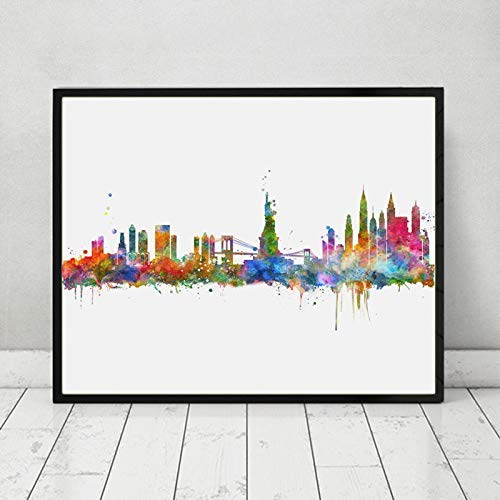 New York City Wall Hanging Map Skyline Art Print New York Skyline City Watercolor Art Print NYC Wall Print Poster Painting Home Decor No Frame