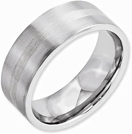 Top 10 Jewelry Gift Cobalt Sterling Silver Inlay Satin 8mm Flat Band