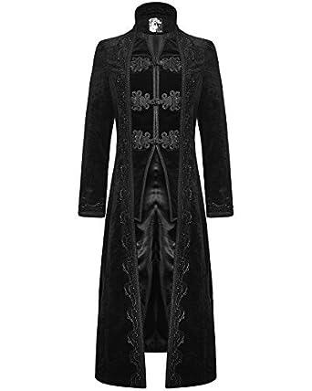 2e3616b1dd53 Punk Rave Herren Mantel Lange Jacke Schwarz Samt Gothic Steampunk  Aristocrat Regentschaft  Amazon.de  Bekleidung