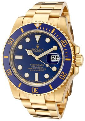 Men's Submariner Automatic Blue Dial Oyster 18k Solid Gold by Rolex