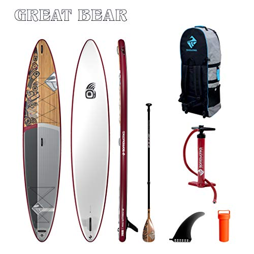 Boardworks SHUBU Great Bear Touring Inflatable Stand-Up Paddle Board (iSUP) | SUP Package Includes Pump, Three Piece Paddle and Roller Bag Complete Kit | 14'