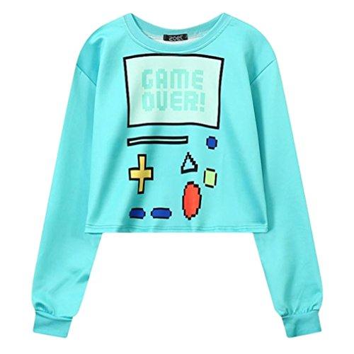Women Sweatshirt Harajuku Sexy Crop Top Game Over Print Long Sleeve Hoody Pullovers,Blue -