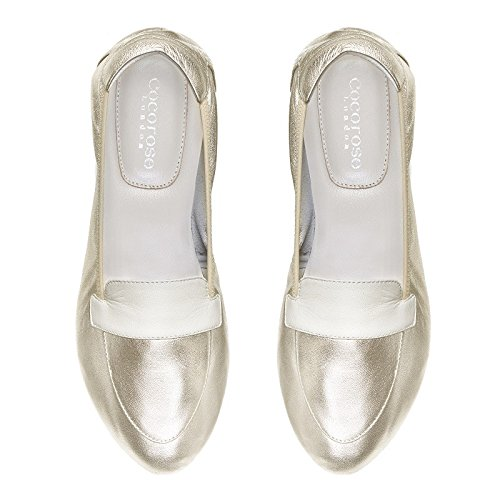 Cocorose Faltbare Schuhe - Clerkenwell Damen Mokassins Leder Gold & Weiß