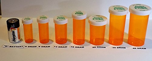 Plastic Prescription Vials/Bottles 25 Pack w/Caps 8 Dram Size (Pharmacy Vial)