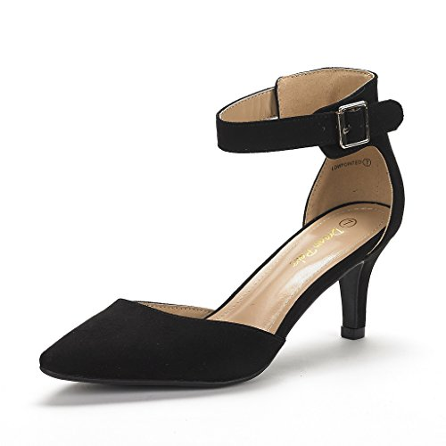 DREAM PAIRS Women's Lowpointed Low Heel Dress Pump Shoes (7, Black Suede)