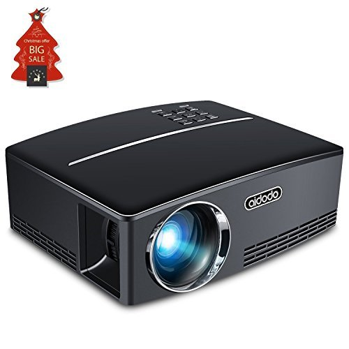 Mini Projector LED Portable Video Projectors Aidodo 1800 Lumens Multimedia Home Theater Projector Support 1080p HDMI USB SD Card VGA AV for Home Cinema TV Laptop DVD Player and HD Games [並行輸入品]   B078FZPF3Z
