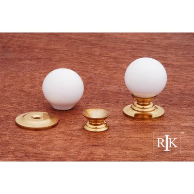 (RK International RKI 308-White R.K. International CK 308 White Porcelain Knob, Polished Brass)