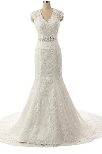 Snowskite Women's V-neck Mermaid Lace Bride Wedding Dress Bridal Gowns Ivory 28