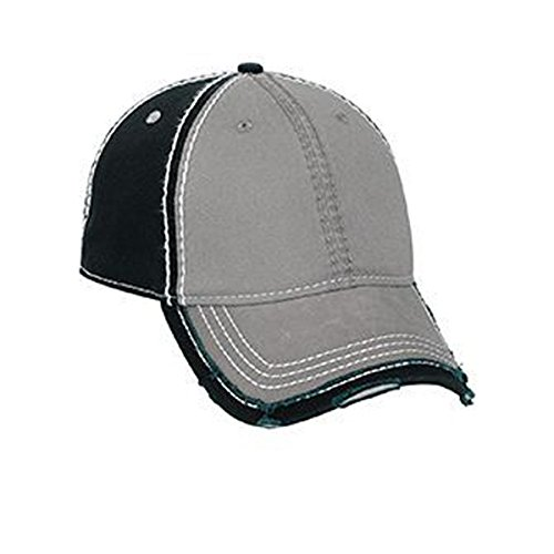 Visor Twill Trim (Otto Vintage Washed Cotton Twill Distressed Binding Trim Visor w/Heavy Stitching Low Profile Style)