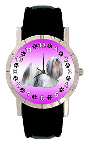 Lhasa Apso Dog Photo (Lhasa Apso Dog Photo Design Watch with Leatherband)