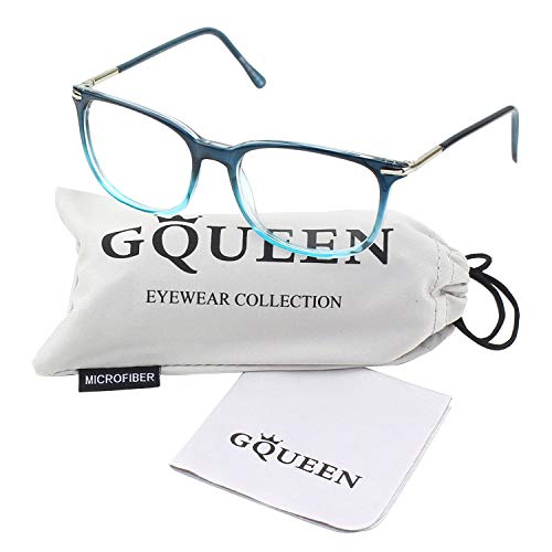 (GQUEEN 201579 Fashion Metal Temple Horn Rimmed Clear Lens Glasses,Blue)