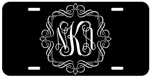 (Top Craft Case Personalized Monogram License Plate - Elegant Fancy Arrangement Custom Initials Auto Car Tag )