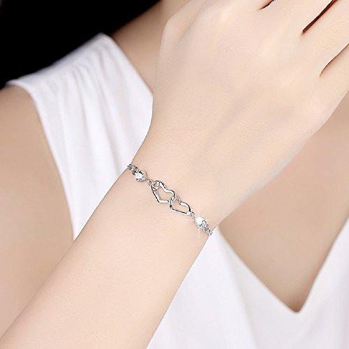 EVERU Heart Love Bracelet for Women, 925 Sterling Silver Adjustable Charm Forever Bracelet by EVERU (Image #1)