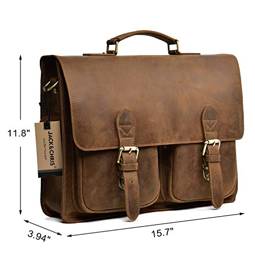 Jual Jack Chris Leather Briefcase 14   Laptop Messenger Bag for Men ... 57ce2e46df0b7
