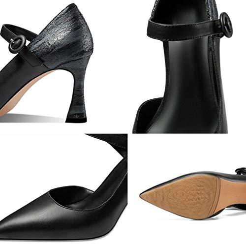 Nouvelles Printemps Gfphfm De Hauts Unique Chaussures 2019 Fin Profonde 34 Cuir En Femmes Talon Boucle b Pointu Talons Peu Bouche automne Ceinture Dames w48Frqaw