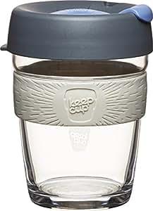 KeepCup 12 oz -Taza de café de cristal reutilizable  Brew mediana , Plata