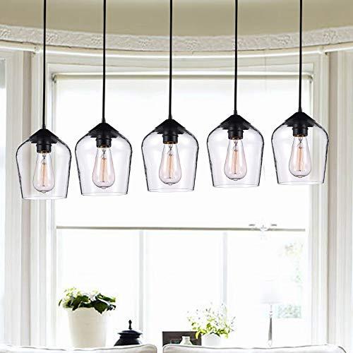 Jojospring Belinda Antique Black Finish Clear Glass 5 Light Pendant Chandelier ()