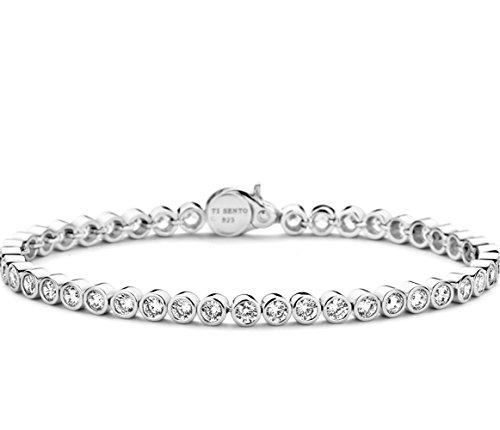 Ti Sento - Bracelet Femme - Shiny Basic - 2842ZI - Argent - Cercles avec cristaux