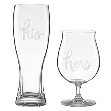 kate spade new york Two of a Kind His & Hers Beer Glasses