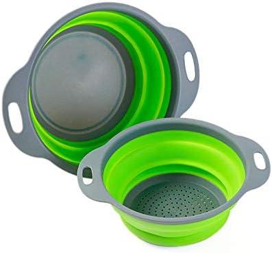 Colosun Juego de 2 coladores plegables, cestas de filtro plegables portátiles, cuencos, colador de goma para cocina, camping, drenaje, alimentos, ...