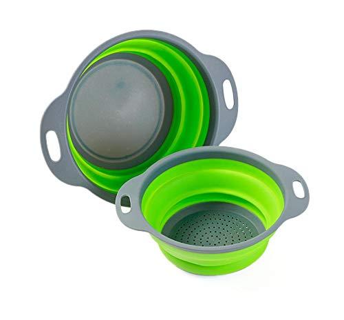 Colosun Zusammenklappbares Sieb-Set, tragbar, faltbar, Filterkörbe, Schüsseln, Behälter, Gummi-Sieb für Küche, Camping…