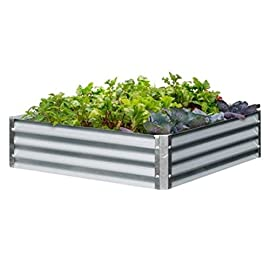 "Galvanized Steel Raised Garden Beds - 48"" x 48"" x8"" 9 Sturdy Galvanized Steel construction LONG LASTING and CORROSION RESISTANT EASY ASSEMBLY"