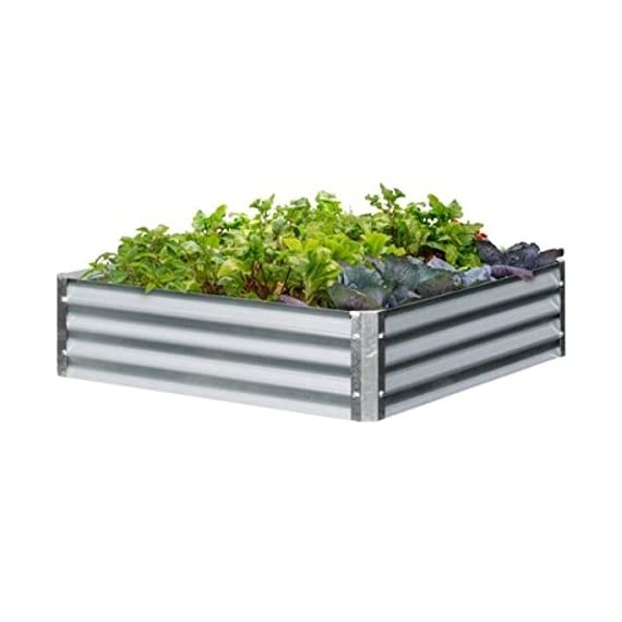 """Galvanized Steel Raised Garden Beds - 48"""" x 48"""" x8"""" 1 Sturdy Galvanized Steel construction LONG LASTING and CORROSION RESISTANT EASY ASSEMBLY"""