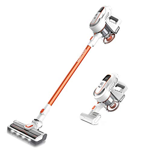 Cordless Vacuum, Womow W9 Stick Vacuum Cleaner, 16000pa Powerful Suction, 300W Brushless Motor, Lightweight 2 in 1 Handheld Vacuum with HEPA Filter LED Power Brush for Pet Hair