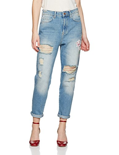 mid Floral Look 40 Blu Jeans Blue Straight New Donna UgPyg