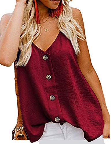 (jonivey Women's Casual V Neck Spaghetti Strap Button Down Cami Shirt Blouses Tank Tops (Wine Red,M))