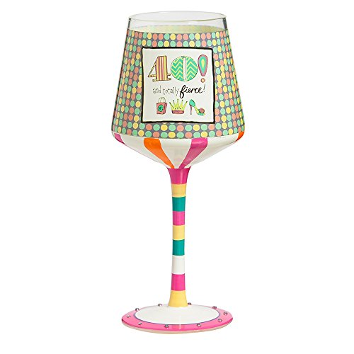 "Cypress Home 40th Birthday 12 oz Hand-Painted Stemmed Wine Glass - 3.75""W x 3.75'' D x 7.5'' H by Cypress Home (Image #3)"