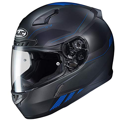 HJC Unisex Adult Full Face CL-17 Combat Motorcycle Helmet MC-2SF Black/Blue Large (Helmet 09 Full Face)