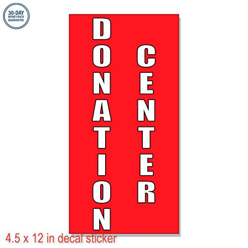 Donation Center Style 2 Label Decal Sticker Retail Store Vinyl Sign   Sticks To Any Clean Surface 4 5 X 12 In
