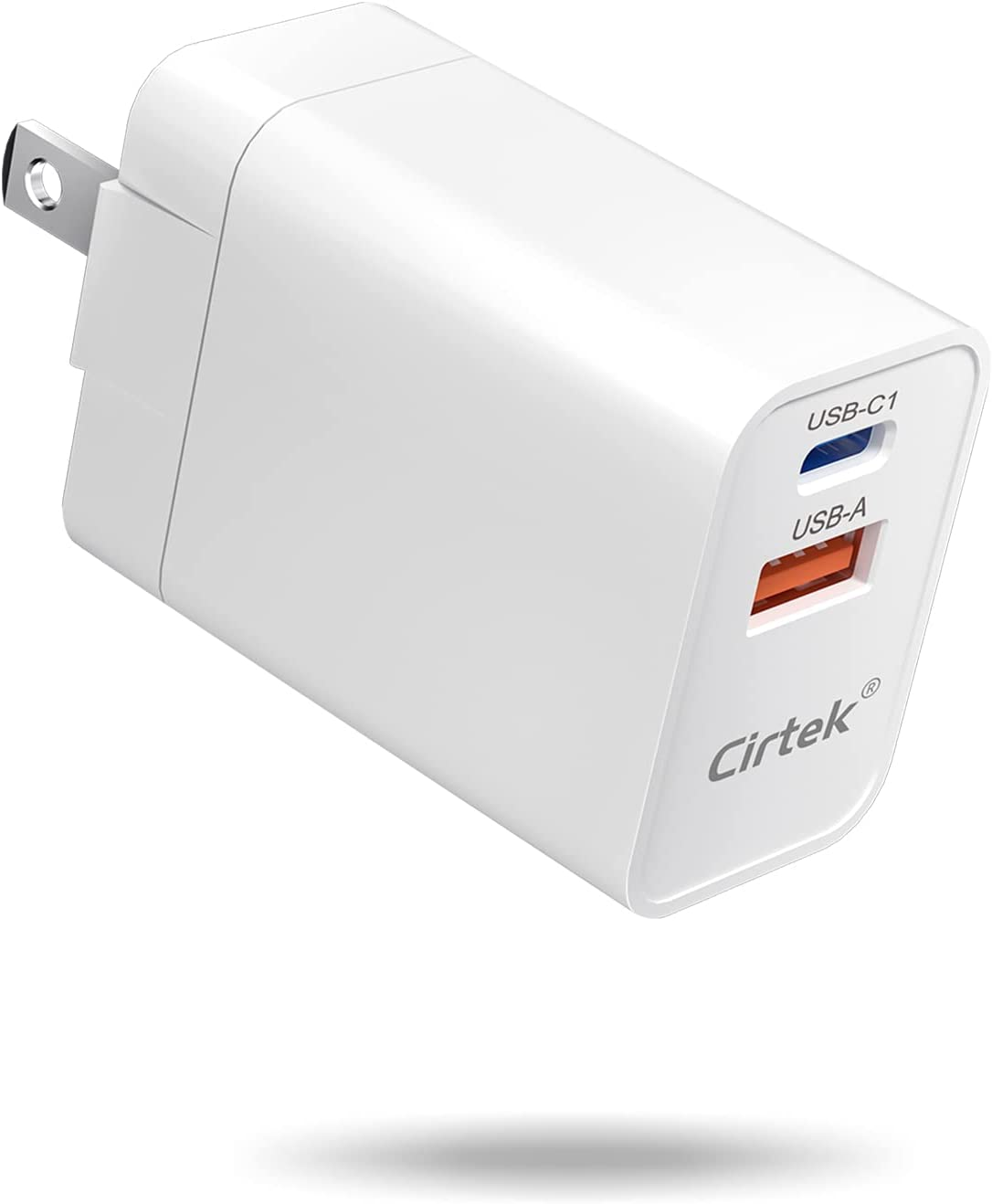 Cirtek USB C Charger Dual Port 20W Fast Wall Charger Foldable Plug Type C Power Adapter PD 3.0 USB-C Charger Block Compatible with iPhone 12 Pro Max, iPad Pro, AirPods Pro, Samsung Galaxy, Pixel