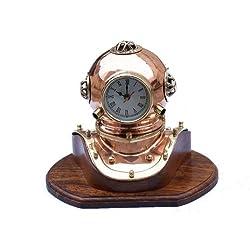 Hampton Nautical  Copper Divers Helmet Clock, 12, Cooper