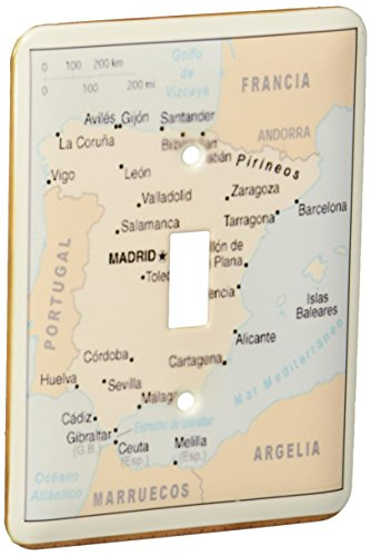 3dRose lsp_119795_1 Modern Map of Spain with Cities Single Toggle Switch by 3dRose