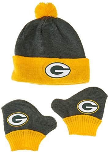 OTS NFL Green Bay Packers Pow Knit Cap & Mittens Set, Dark Green, Infant (Set Infant Green Apparel)