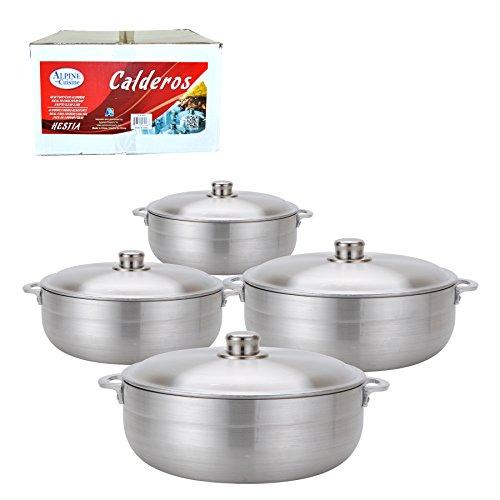 Aramco 8 Piece Alpine Gourmet Aluminum Caldero Set, 2/3.5/7/13 quart, Silver (AI-6928) (Aluminum Pots And Pans)