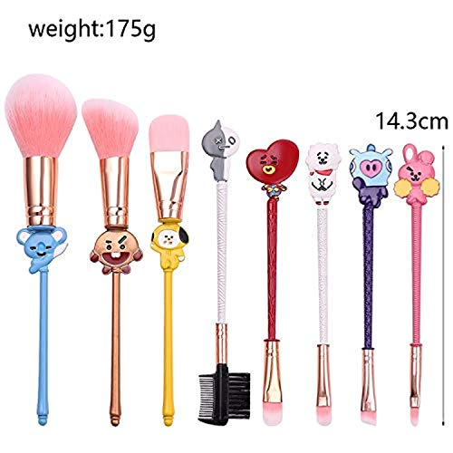BTS Makeup Brushes Set - 8Pcs Creative Stitch Theme Cosmetic Brushes Set, Premium Synthetic Foundation Eyeshades Brush Set Best Gift for Young Girl Women
