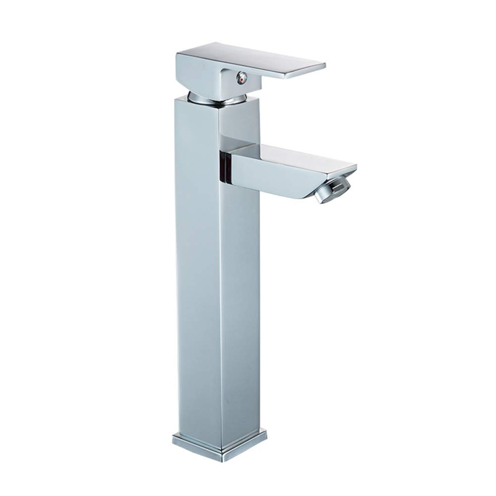 Tianch Mordern Square Solid Brass Basin Tap Bathroom Sink Mixer Monobloc Chrome Single Lever Single Hole Faucet (Style : B)