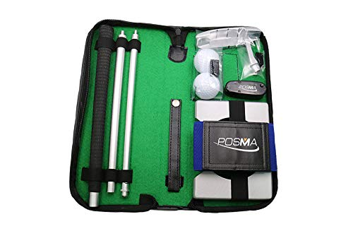 POSMA GSP020AL1 Portable Golf Putter Putting Trainer Gift Set Kit with Aluminum 4-Section Putter, Laser Alignment Device, Arm Posture Corrector, 2pcs Balls, Putting Cup