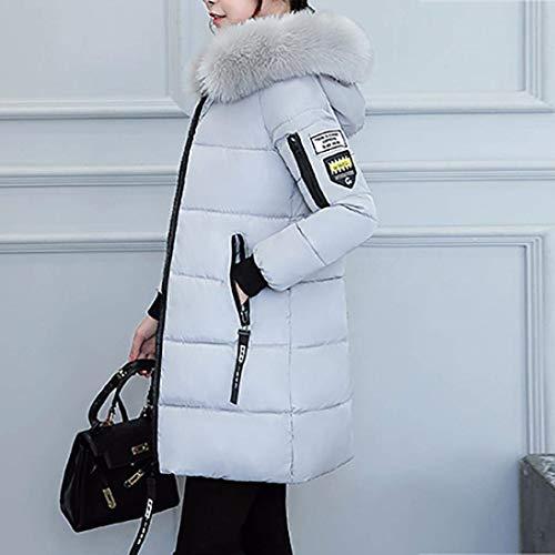 Elegante Cerniera Tasche Di Alta Piumini Grau Qualità Mantello Chic Cappuccio Termico Donna Cappotti Pelliccia Ragazza Lunga Invernali Manica Outwear Con Laterali Moda OzzFfBEwq